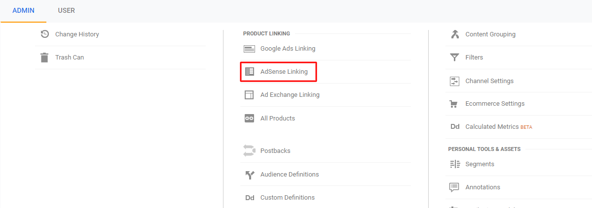 AdSense linking settings in Google Analytics