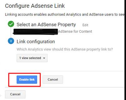 Configuring AdSense link