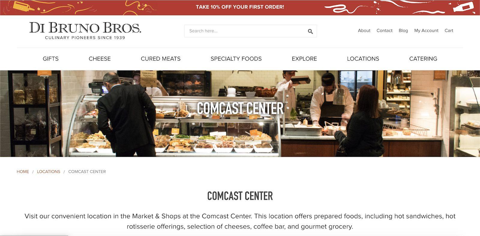 Di Bruno Bros.'s Comcast Center Landing Page