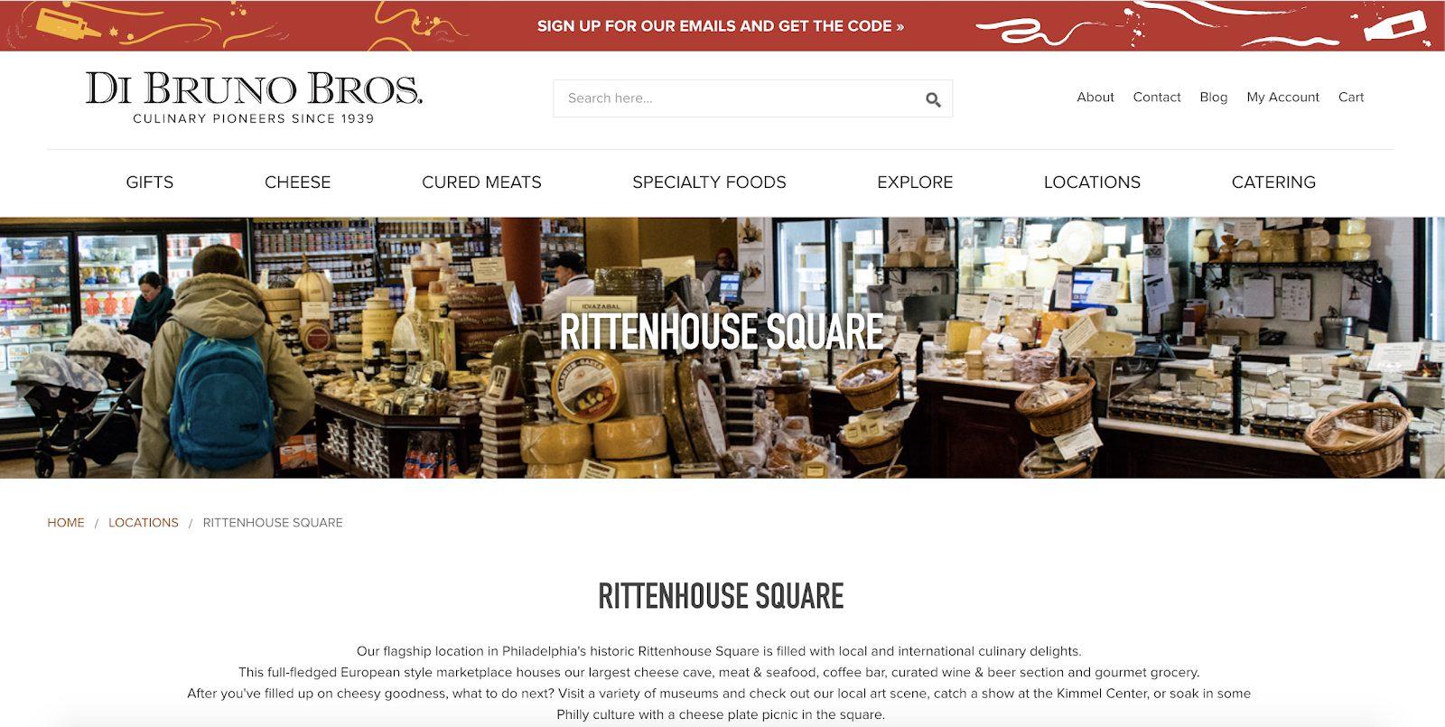 Di Bruno Bros.'s Rittenhouse Square Landing Page