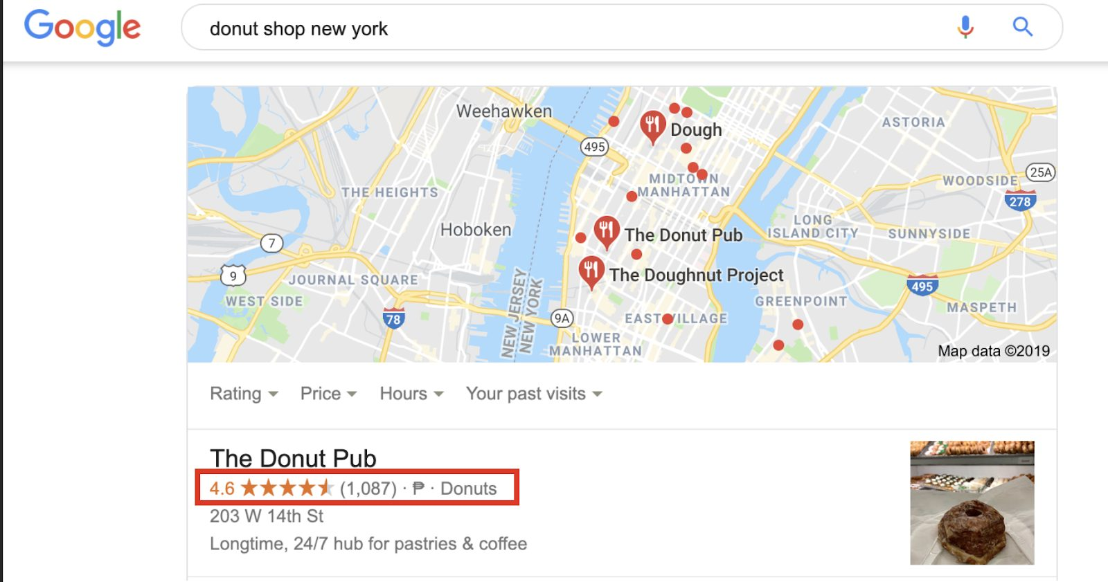 Donut shop new york query in Google search
