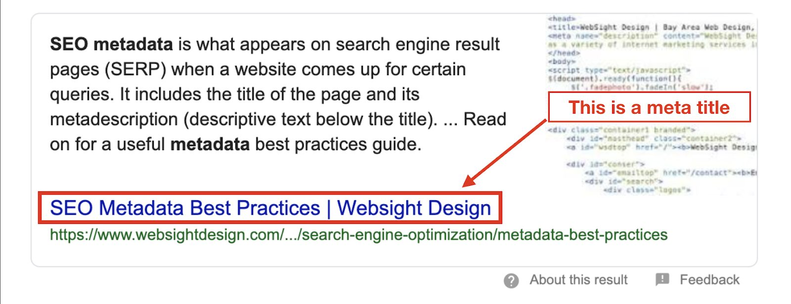 Example of metadata as a search engine result