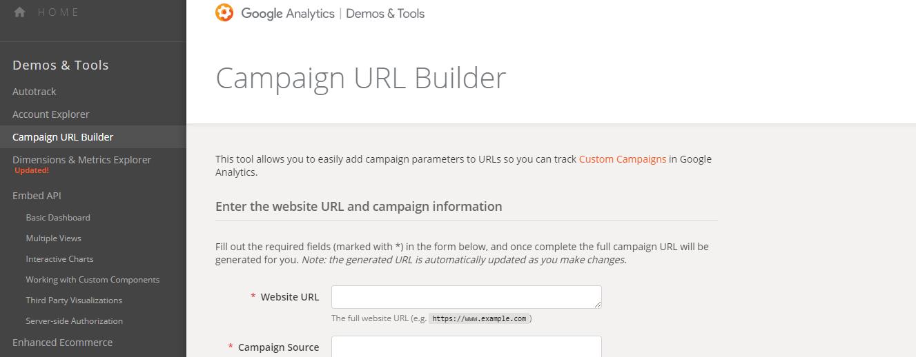Google Analytics Campaign URL builder