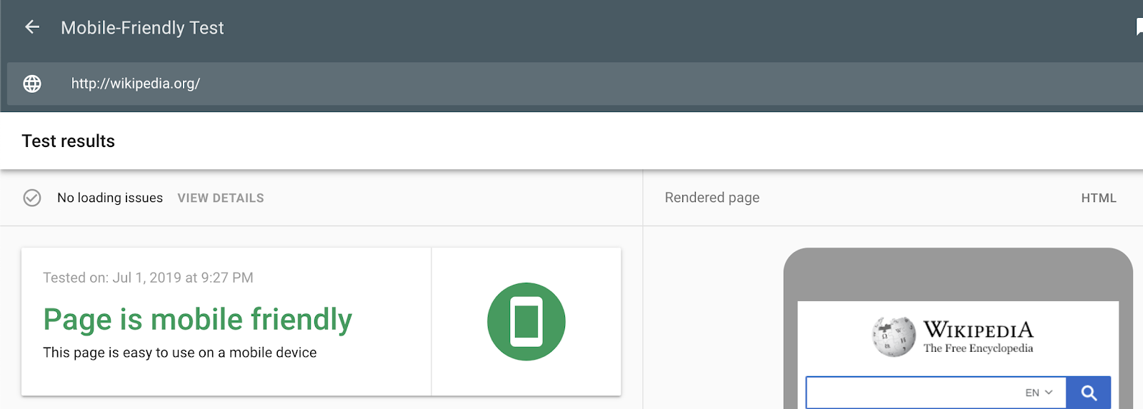 Google's Mobile Friendly tool