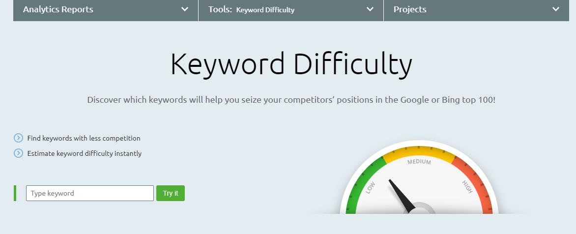SEMRush Keyword Difficulty Tool