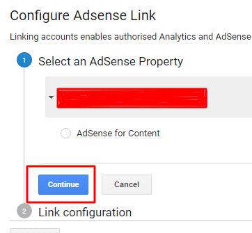 Select AdSense Property then click Continue button