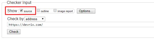 Show source option - W3C Markup Validation Tool