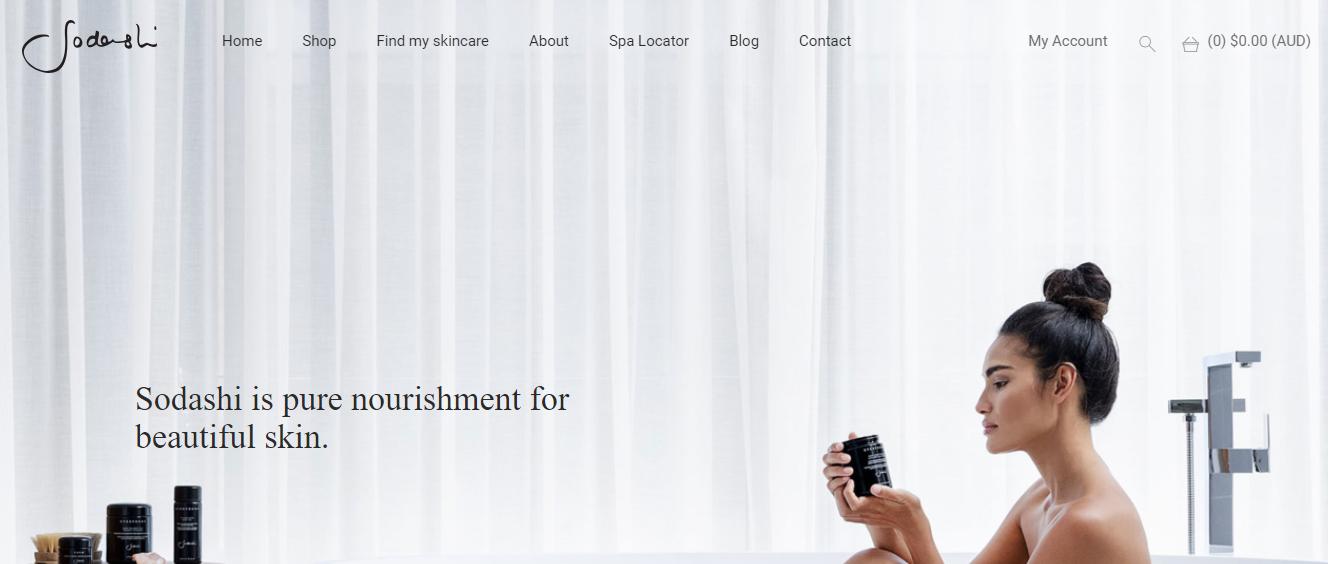Sodashi skincare ecommerce website