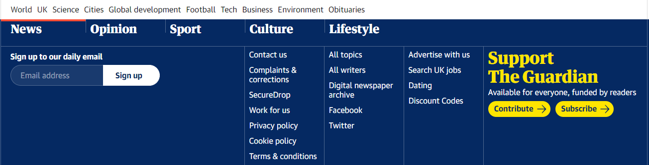 The Guardian footer menu