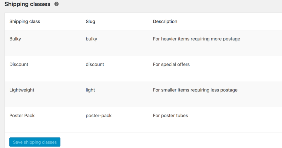 editing shipping classes in WooCommerce
