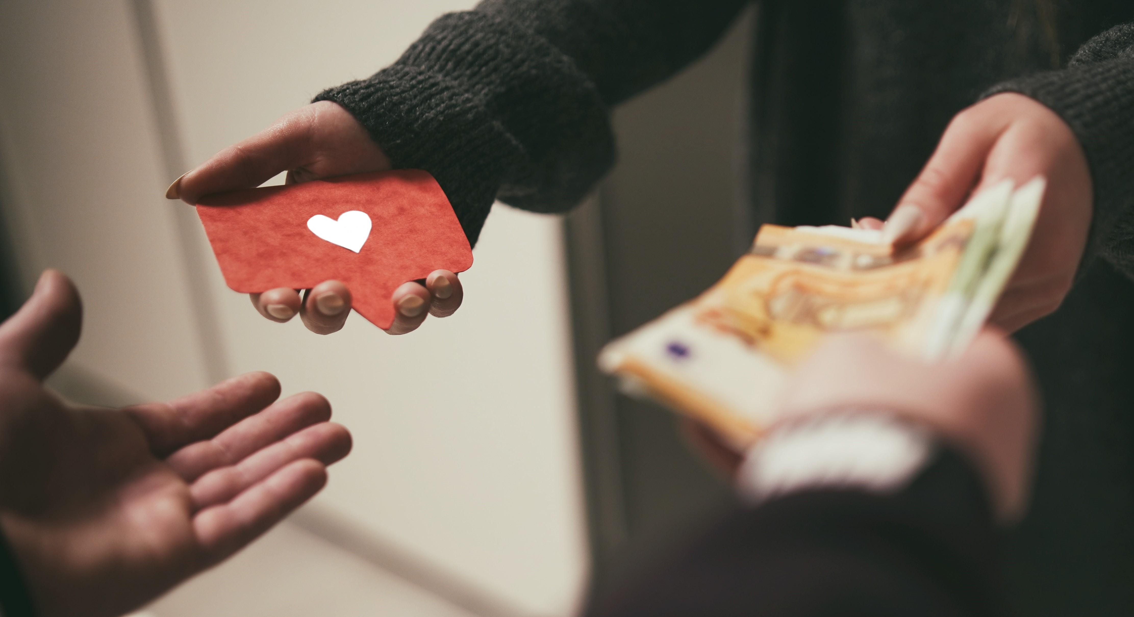heart react in exchange of money