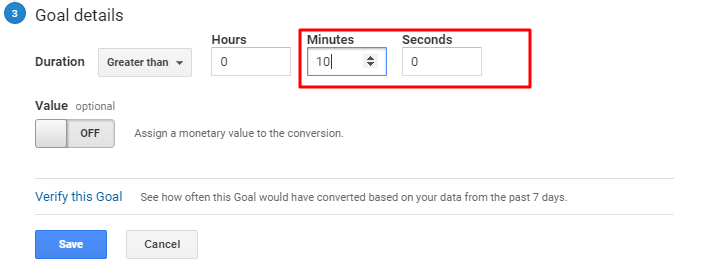 setting up visit duration for engagement goals