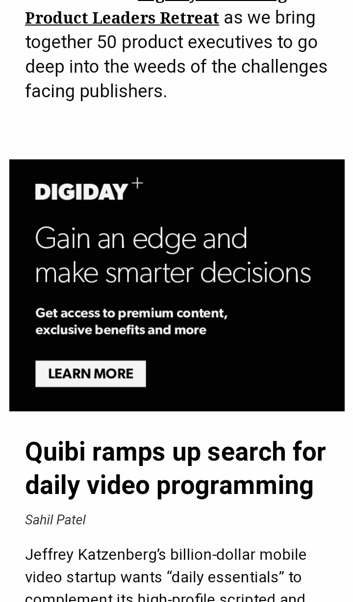 Digiday mobile view with learn more button on an article