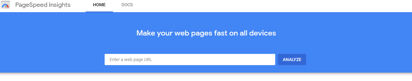 Google pagespeed insights home