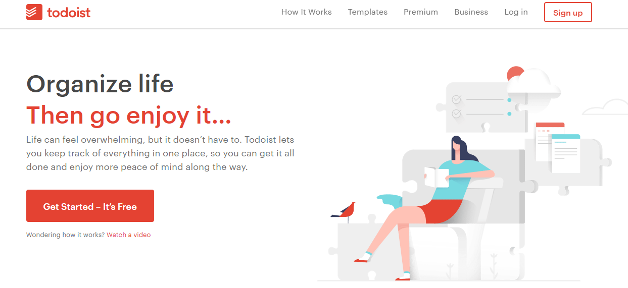 a perfect example for SaaS landing page from todoist