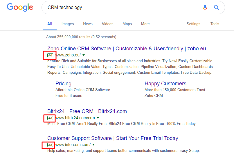 ads on search engine results page