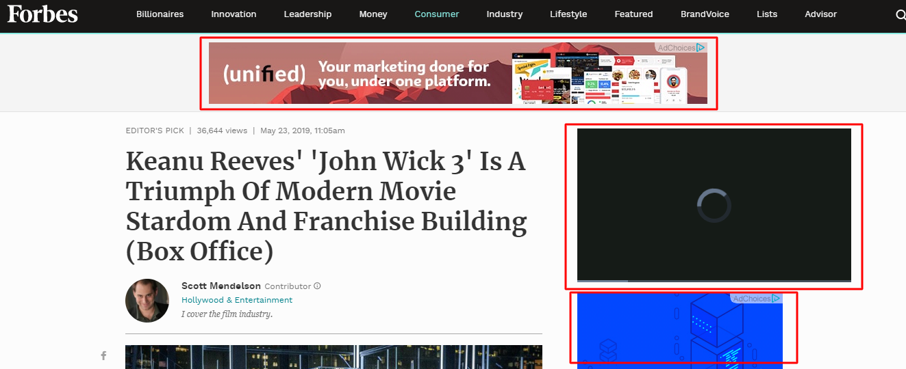 ads placement on Forbes site