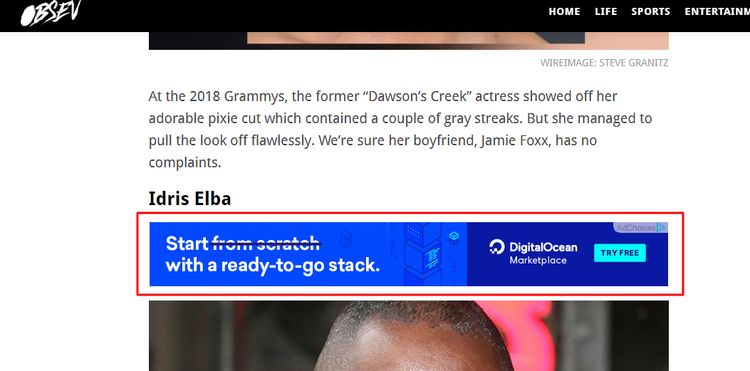 ads placement on Obsev site
