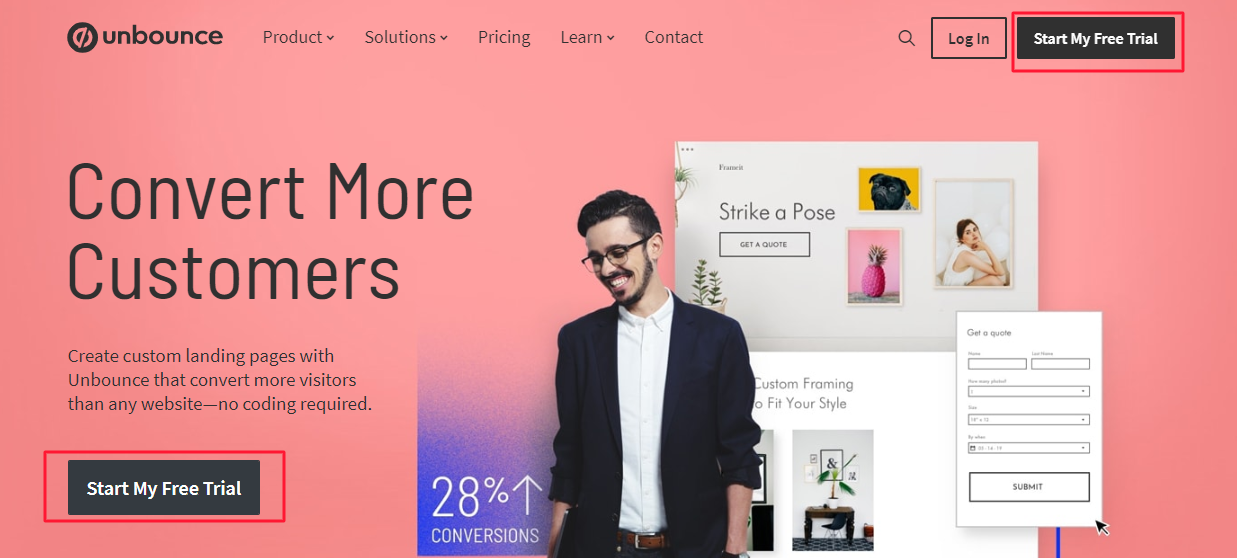 asking for a free trial on a saas landing page