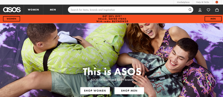 Asos website navigation