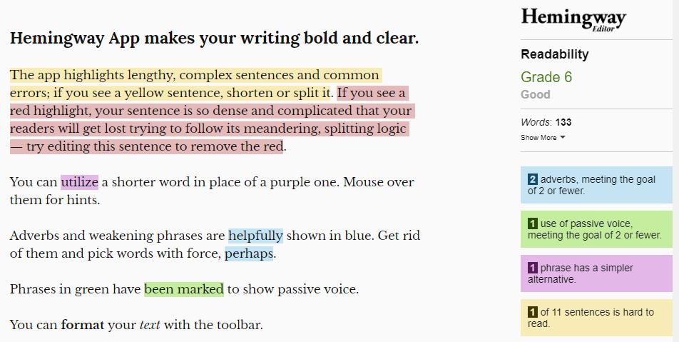 Hemingway app for writers