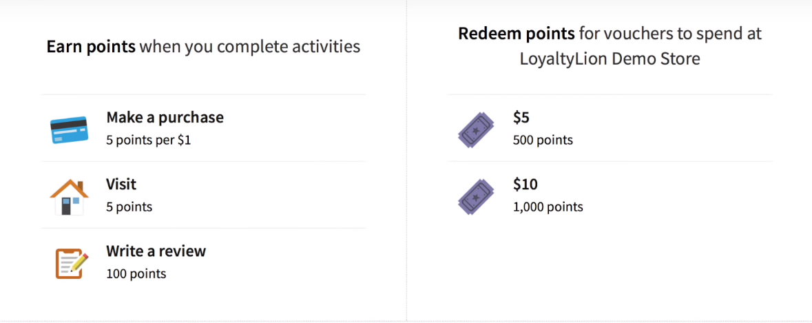 LoyaltyLion Earn Points page