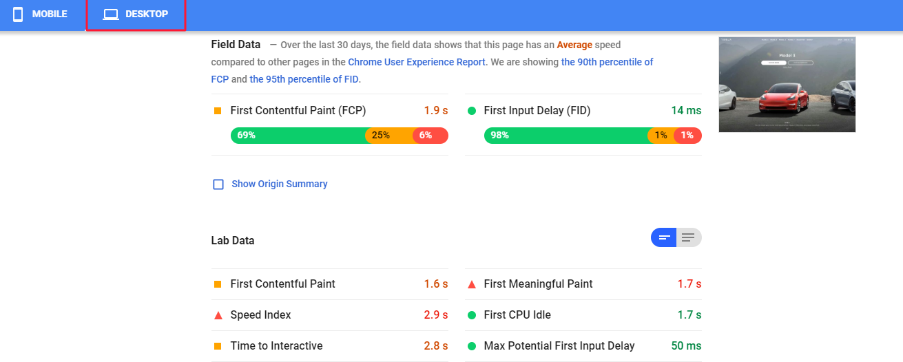 PageSpeed Insights desktop results page