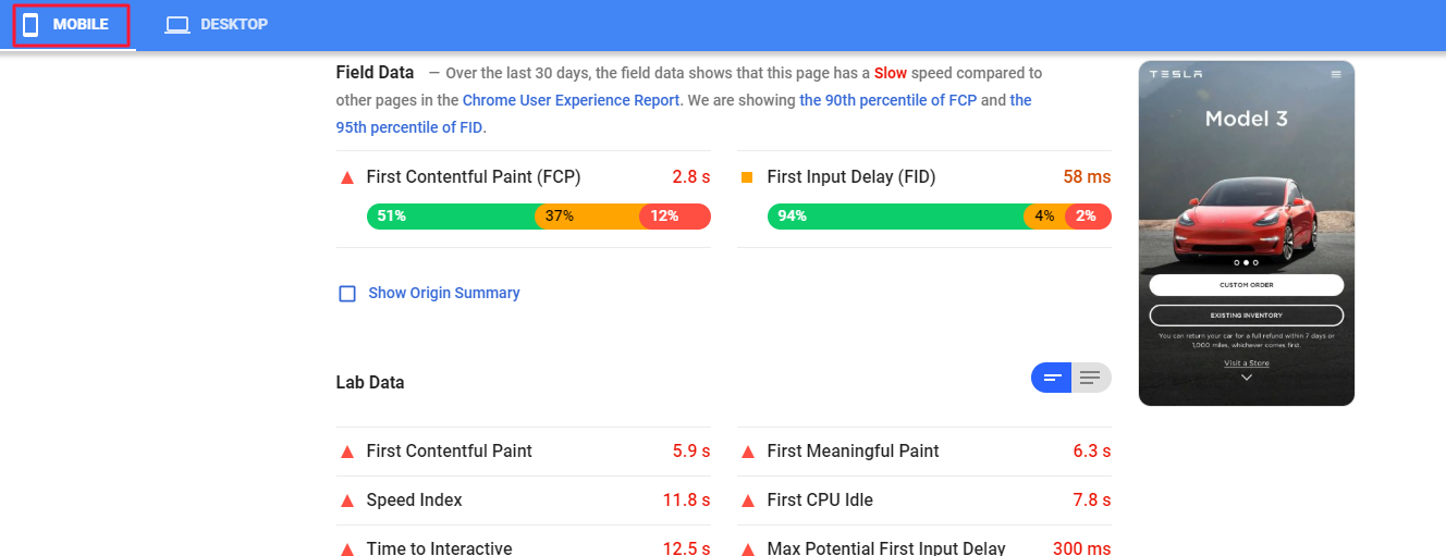 PageSpeed Insights mobile