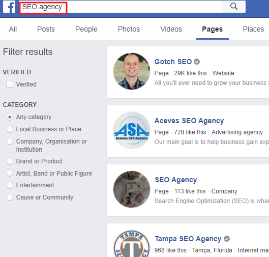 SEO agency search query on Facebook