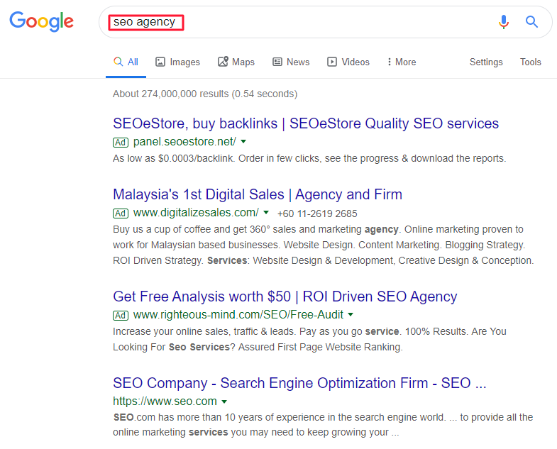SEO agency search query on Google