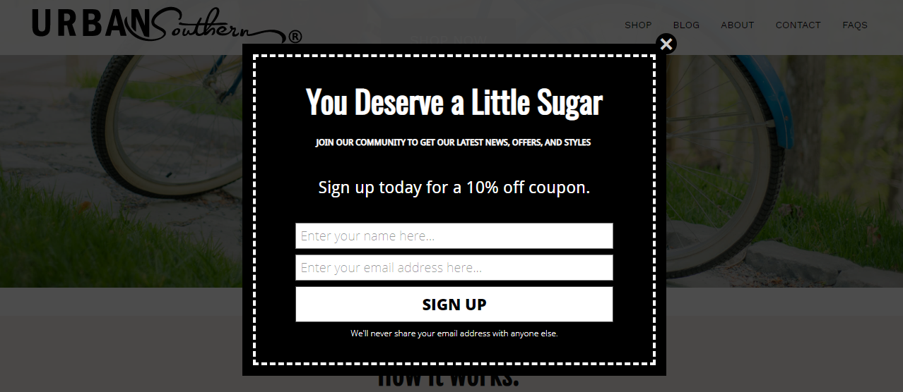 UrbanSouthern email subscription popup