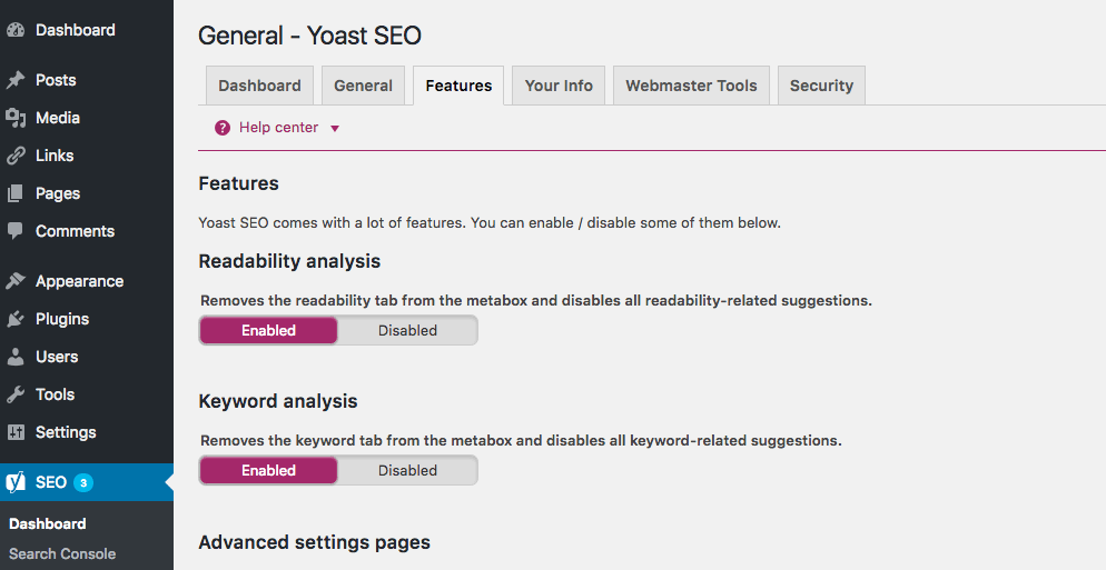 enabling advanced settings in Yoast SEO