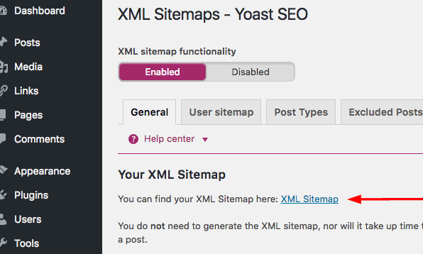 locating the XML sitemap in Yoast SEO