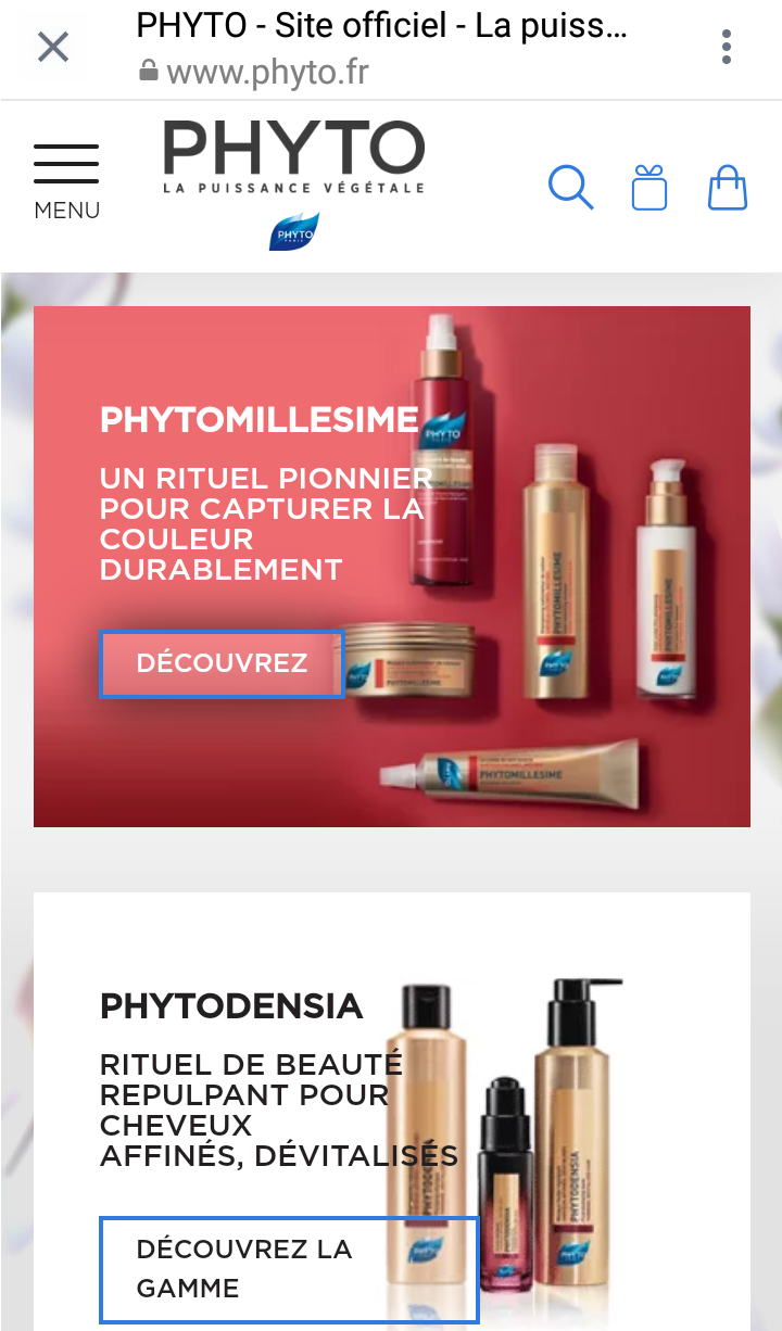 phyto website on mobile view