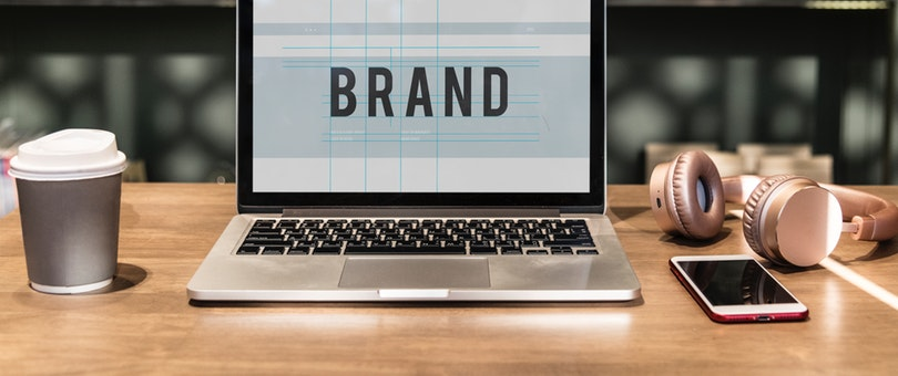 brand displayed on laptop