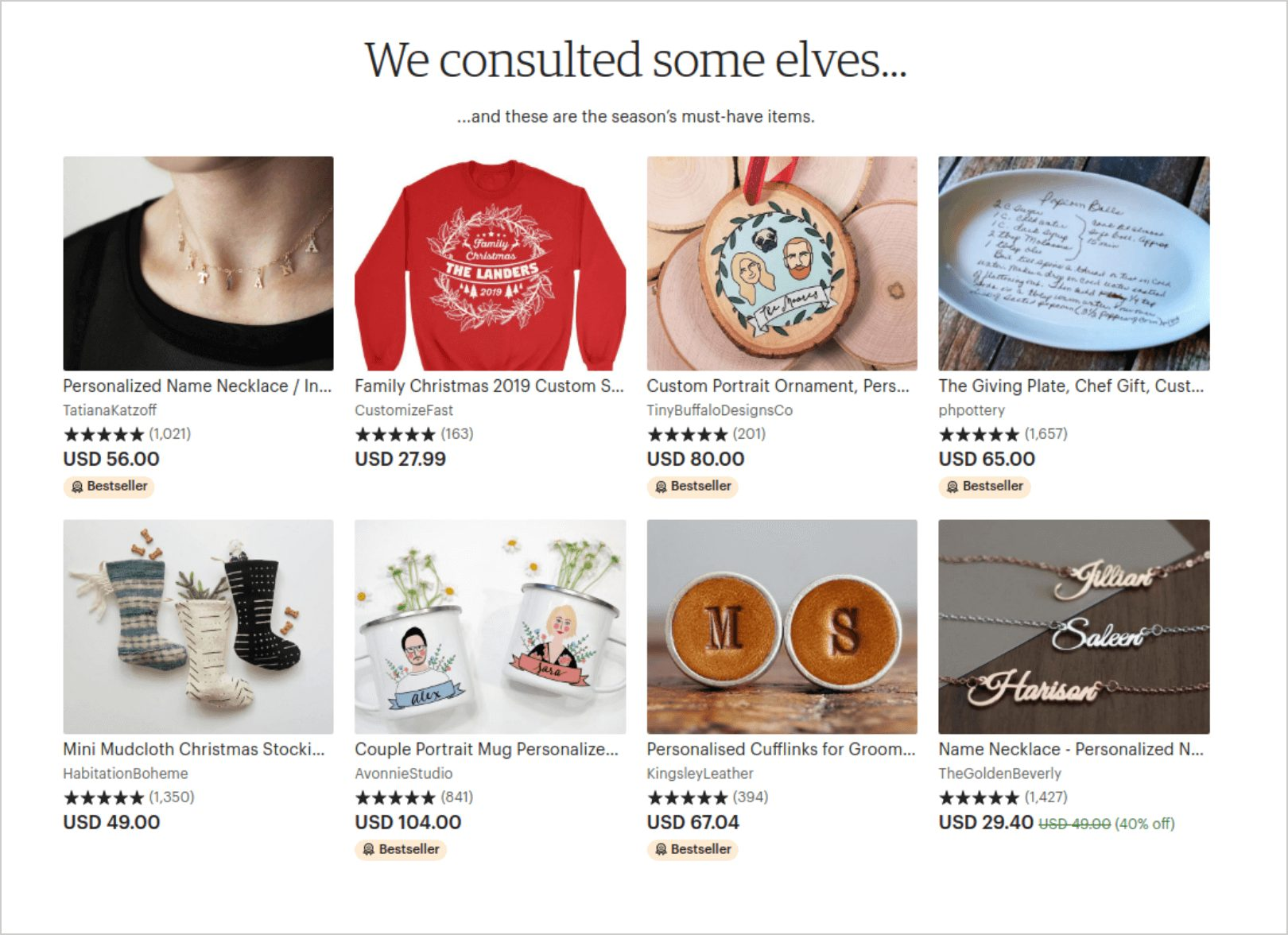 Etsy curated items