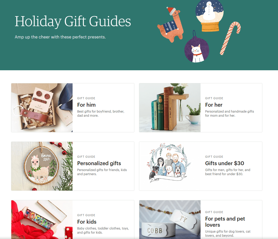 Etsy holiday gift guides