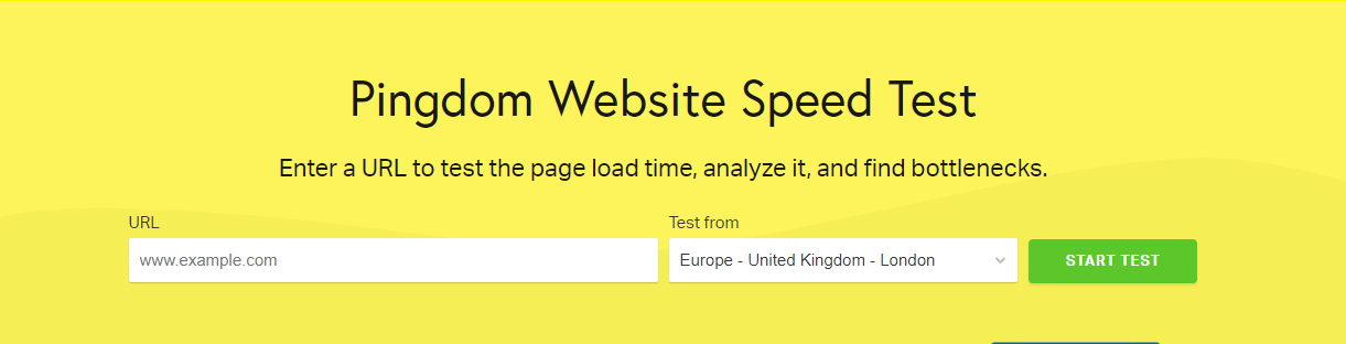 Pingdom website speed test page