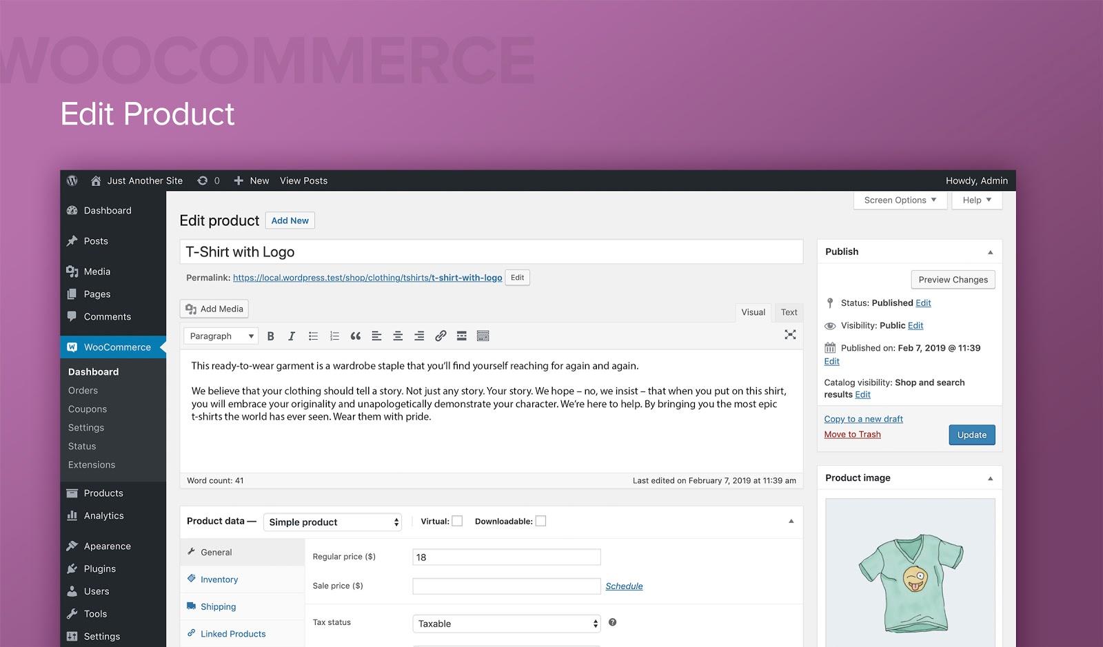 WooCommerce edit product