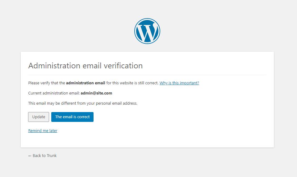 admin email verification