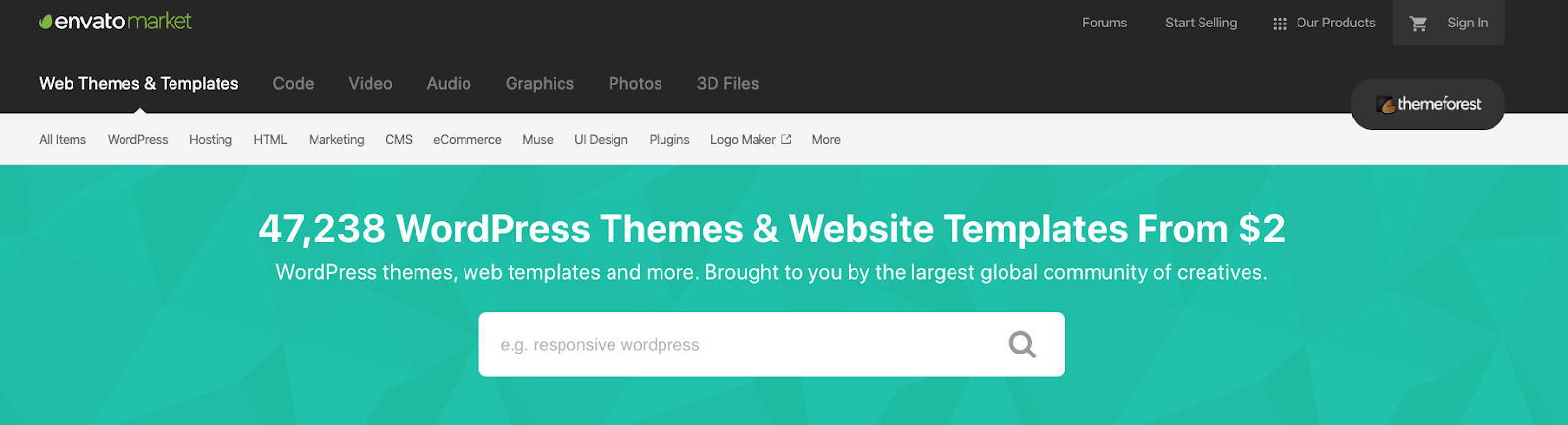 envato market WordPress themes and website templates
