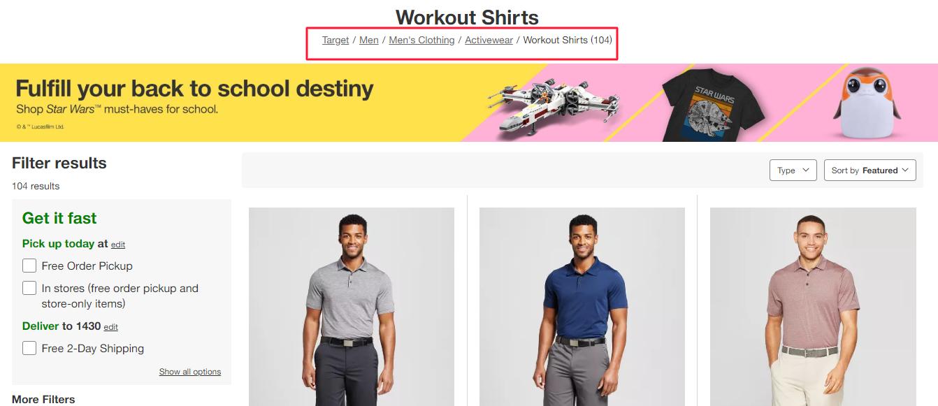 target website breadcrumbs