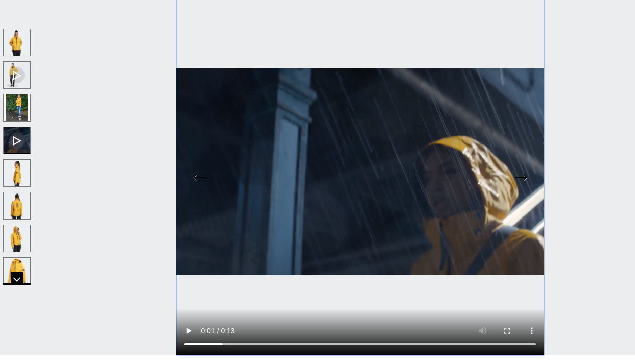 Adidas product video of a woman wearing the jacket under the rain