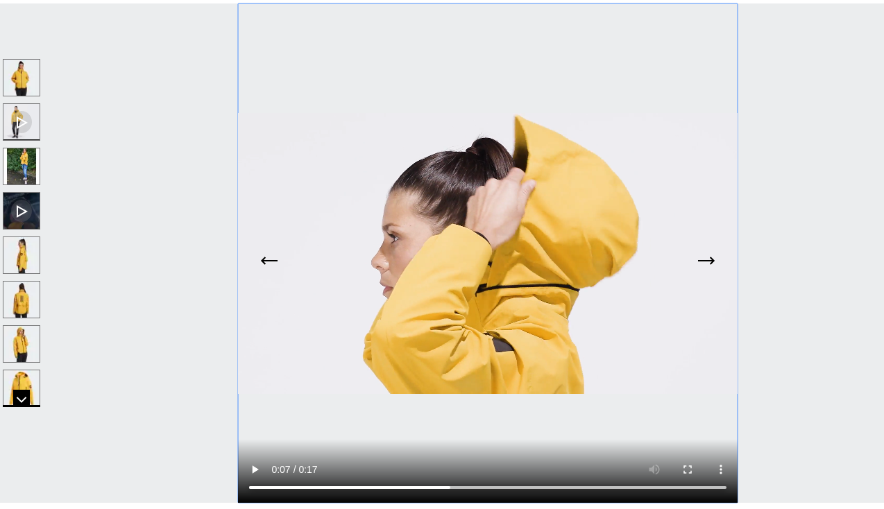 Adidas product video with a woman trying out the jacket
