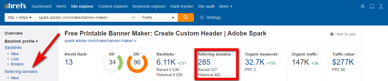 Ahrefs referrin domains