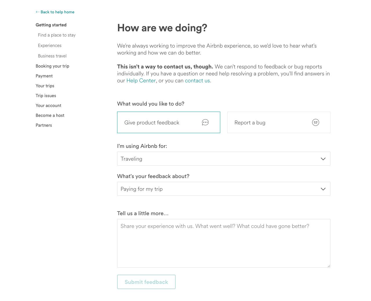 Airbnb feedback questionnaire