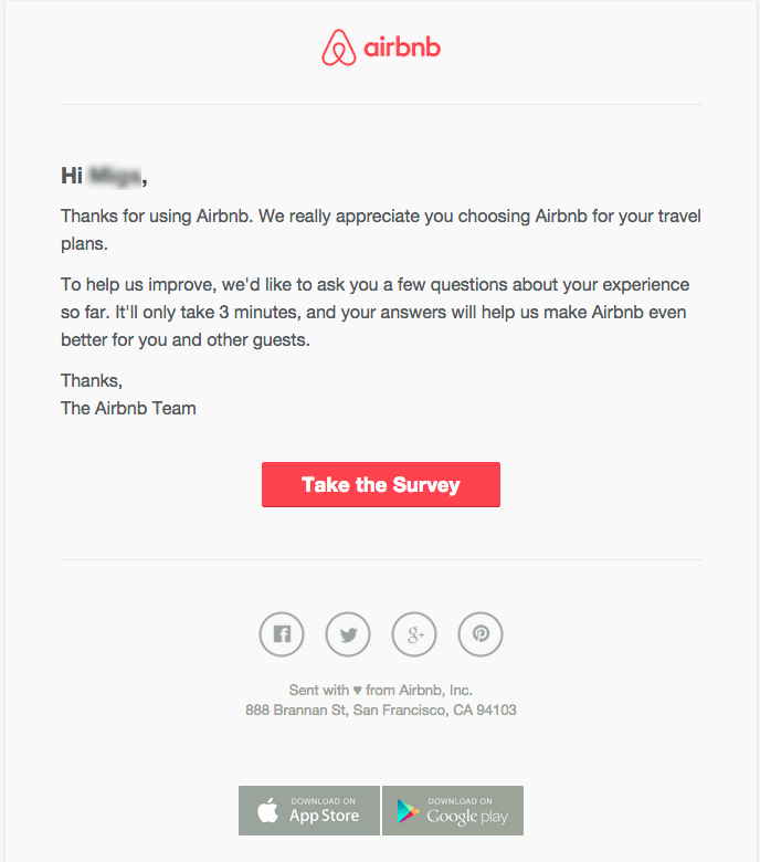 Airbnb survey email