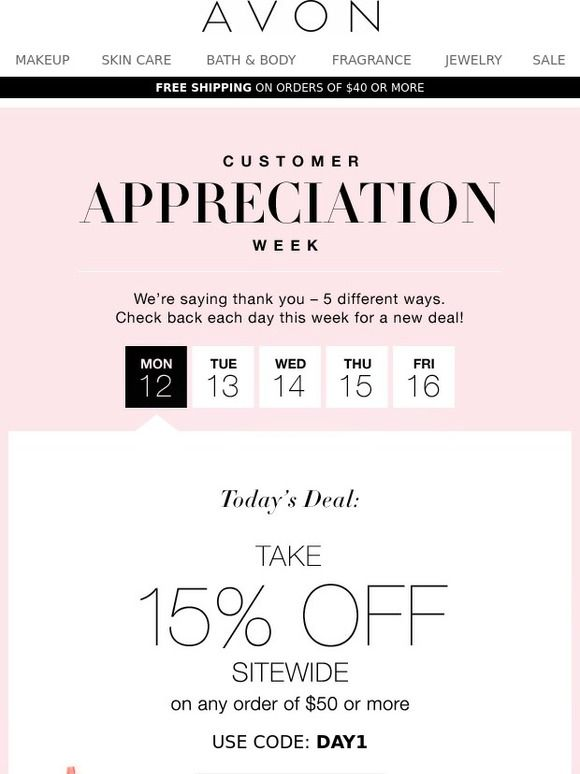 Avon customized thank you email