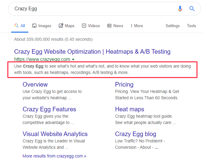 Crazy Egg homepage meta description