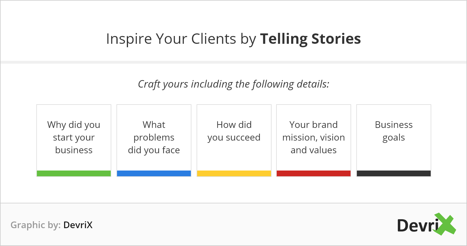 Inspire clients by telling stories